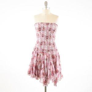 Free People Cotton Voile Smocked Bodice Mini Dress